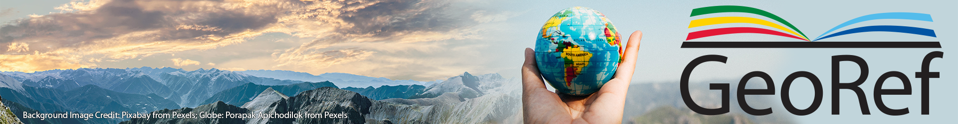 GeoRef Reaches 4 Million References. Background Images: Mountains: Pixabay/Pexels; Globe: Porapak Apichodilok/Pexels