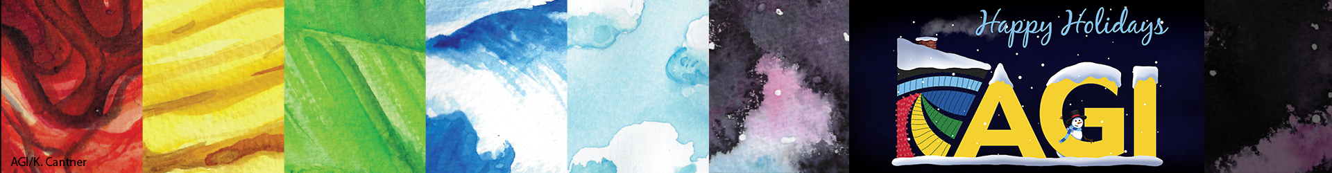 AGI graphic representing parts of the Earth system and a winter holiday version of the AGI logo. Images by K. Cantner.