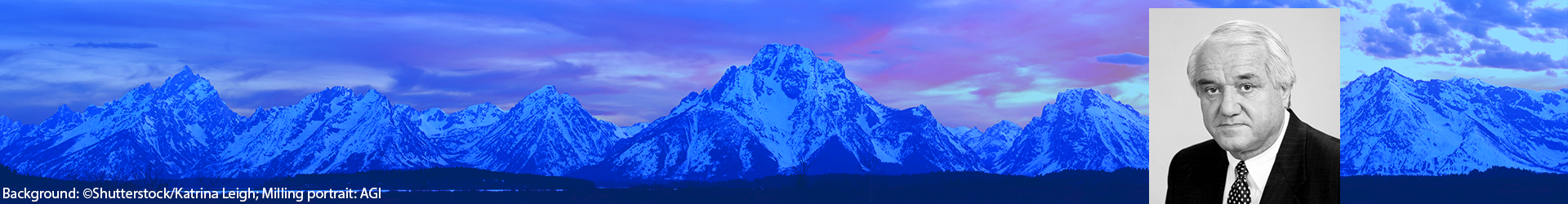 Photo of Dr. Marcus Milling. Background image of the Grand Tetons at sunset. Credits: Background: ©Shutterstock/Katrina Leigh; Milling portrait: AGI