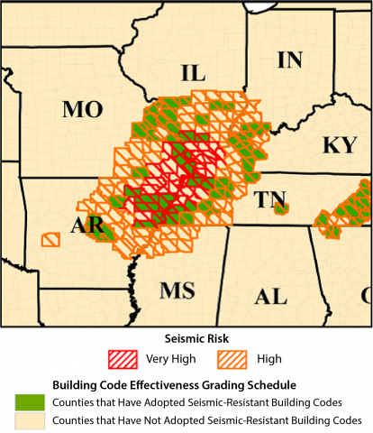 Map of building codes in the New Madrid Fault Zone. Image Credit: FEMA