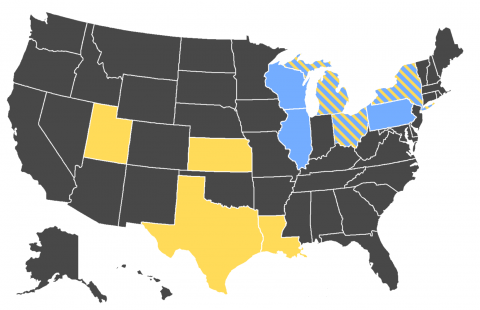 Map of major salt-producing and salt-using states.