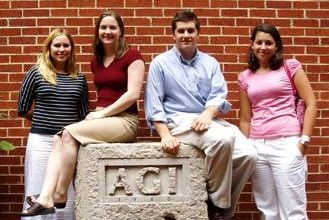 Past AGI Interns (From left to right: Amanda Schneck, Katie Ackerly, John Vermylen, and Anne Smart.)