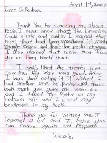 A letter from an elementary student thanking a visiting scientist for coming to the classroom