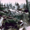 Turnagain Heights landslide in Anchorage, which caused damage to 75 homes. The landslide was triggered by the Alaska earthquake of 1964.