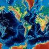 Mercator relief world map