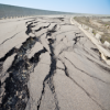 Cracked road from earthquake