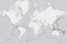 Map showing the 485 earthquakes with a magnitude greater than 5.5 that were recorded in 2018. Image Credit:  U.S. Geological Survey