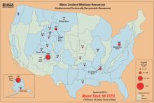 Map showing estimated undiscovered but technically recoverable resources of coalbed methane in the United States. Image Credit: USGS