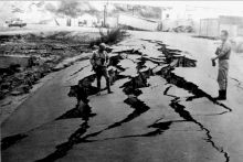The Peru earthquake of May 31, 1970 caused slumping and cracking of this paved road. Image Credit: U.S. Geological Survey