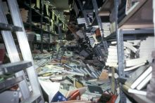 A library in California following an earthquake. Image Copyright © California State University Northridge Geology Department, Image source: Earth Science World Image Bank http://www.earthscienceworld.org/images