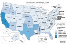 Map of groundwater withdrawals by U.S. state in 2010. Image Credit: U.S. Geological Survey