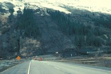 Image of a landslide on an Alaskan highway. Image Copyright Bruce Molnia, Terra Photographics