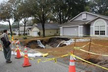 Image of a sinkhole in West-central Florida Freeze Event of 2010. Image Credit: U.S. Geological Survey/Photo by Ann Tihansky