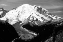 Mt. Rainier and a volcanic debris flow that started at Emmons Glacier. Image Credit: USGS
