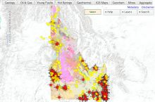 Screenshot of the Idaho Geological Survey's interactive map of Idaho
