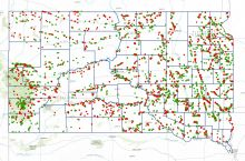 Screenshot of the interactive map of aggregate mines in South Dakota