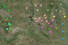 Screenshot of the interactive map of groundwater levels at observation wells in South Dakota