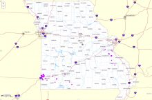 Screenshot of interactive map of abandoned mines in Missouri