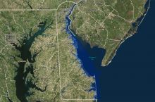 Screenshot of Delaware Sea Level Rise Inundation map