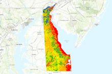Screenshot of interactive map of groundwater in Delaware