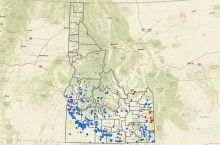 Screenshot of the Idaho Department of Water Resources' interactive map of geothermal wells and springs in Idaho