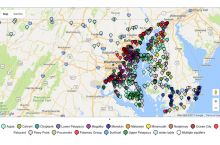 Screenshot of interactive map of groundwater levels in Maryland