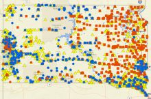 Screentshot of the SD DENR interactive map of spills in South Dakota