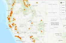 Screenshot of interactive map of post-fire debris-flow hazards in the United States. Image Credit: U.S. Geological Survey
