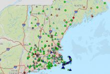 Screenshot of New England Water Science Center interactive map