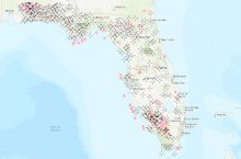 Screenshot of the interactive map of permitted oil and gas wells in Florida