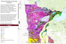 Screenshot of the interactive map of Minnesota's bedrock geology