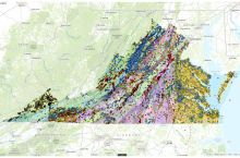 Screenshot of the interactive map of geoscience features in Virginia