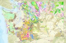 Screenshot of the interactive map of geoscience features in Washington