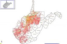 Screenshot of interactive map of oil and gas wells in West Virginia