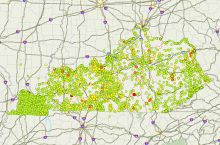 Screenshot of interactive map of groundwater quality in Kentucky