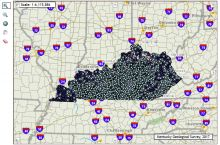 Screenshot of the Kentucky Geological Survey's interactive map of water wells in Kentucky