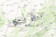 Screenshot of the interactive map of mineral resources in Kentucky