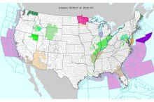 Screenshot of the NWS interactive map of current weather hazards in the United States