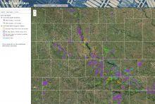 Screenshot of interactive map of Iowa coal mines