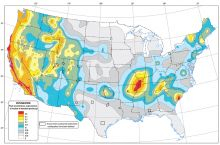 Screenshot of the 2014 USGS model of ground shaking probabilities as a result of earthquakes in the United States