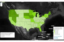 Screenshot of renewable energy map of the United States