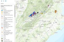 Screenshot of VA abandoned mines interactive map