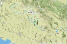 Screenshot of the Arizona Geological Survey's interactive map of earth fissures