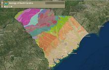 Screenshot of the geology of South Carolina interactive map