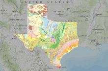 Screenshot of the interactive map of Texas' surface geology