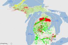 Screenshot of geoscience features in Michigan