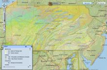 Screenshot of PaGEODE mapping tool for geoscience features in Pennsylvania