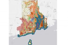 Screenshot of the interactive map of geoscience information in Rhode Island