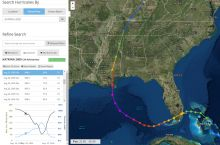 Screenshot of NOAA Historical Hurricane Tracks tool