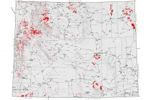 Screenshot of Wyoming landslide map